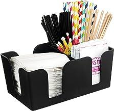 [1 PACK] Bar Caddy with 6 Compartments, Plastic Bar Organizer, Heavy Duty Refillable Bar Organizer, Barware Caddy, Napkin ...
