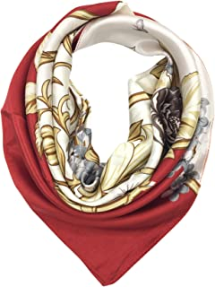 Silk Feeling Scarf Women's Fashion Pattern & Solid Color Large Square Satin Headscarf