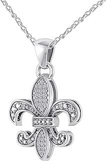0.18 CT (Clarity I1-I2/Color I-J) Real Diamond 14K White Gold Fn Fleur-De-Lis Pendant Necklace