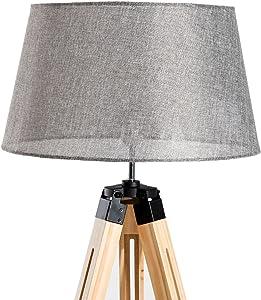 homcom® Staande lamp Vloerlamp Staande lamp in hoogte verstelbaar E27, grenen + polyester, 65x 65x 99–143cm