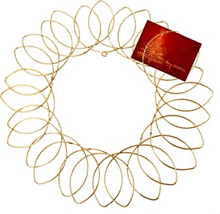 Gold Metal Wreath - Wall Mount Christmas Card Holder - 17