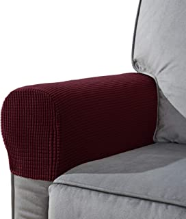 CHUN YI Set of 2 Stretch Polyester Sofa Armchair Armrest Covers Slipcovers Furniture Protector Spandex Fabric Jacquard Anti-Stain Washable Couch Arm Cover Slipcover (Armrest, Wine)