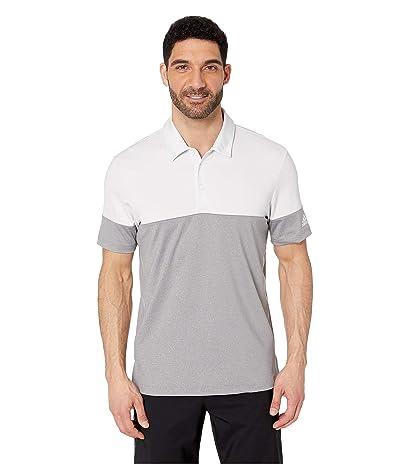 adidas Golf Ultimate 3-Stripes Heather Blocked Polo (Grey Three Heather/Crystal White) Men