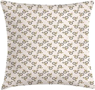 Lunarable Bicycle Throw Pillow Cushion Cover, Cartoon Style Penny Farthing Bikes Pattern, Decorative Square Accent Pillow Case, 28