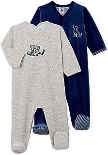 Petit Bateau Baby Boys' Velour Sleepsuit-Footies - 2-Piece Set Blue-Grey Velour Style 51940-99 Sizes 3-9 Months