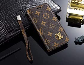 Phone Case for Galaxy S8 Plus, Vintage Luxury Designer Monogram Fashion Style Flip Wallet Case Card Holder, Folding Stand Protective Cover for Galaxy S8 Plus