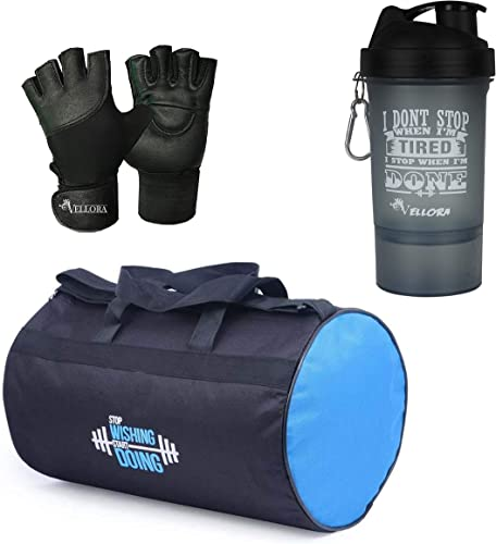 Polyester Long Lasting Material Duffel Bag Gym Bag With Sport Sipper Water Bottle And Gloves Blue Black