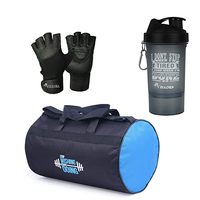 VELLORA Polyester Long Lasting Material, Duffel Bag, Gym Bag with Sport Sipper Water Bottle and Gloves  Blue Black  Sports Duffles
