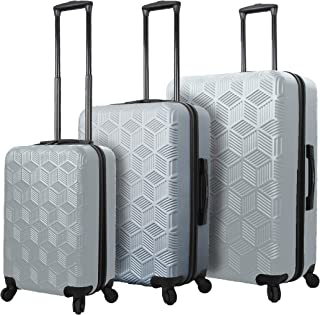 Mia Toro Italy Molded Art Stripped Cubes Hard Side Spinner Luggage 3 Piece Set