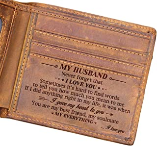 Husband Engraved Bifold Wallet - You Are My Everything - Best Birthday, Anniversary Gift for Your Love.