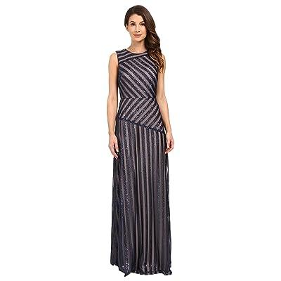 Donna Morgan Gigi Boat Neck Striped Sequin Gown (Midnight/Nude) Women