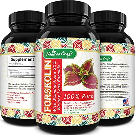 Natures Craft Forskolin Pure Supplement for Men and Women - Workout Enhancer Pills - Appetite Control + Promotes Weight Loss - Testosterone Booster - Lean Muscle Builder -Natural Fat Burner