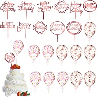 24 Pieces Happy Birthday Cake Toppers Balloon Set Rose Gold Letters Cupcake Topper Acrylic Party Cake Picks and Rose Gold ...