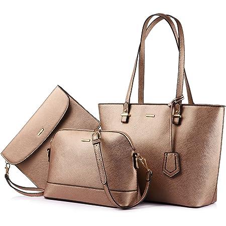 LOVEVOOK Handtasche Damen Schultertaschen Handtasche Tragetasche Damen Groß Designer Elegant Umhängetasche Henkeltasche Set 3-teiliges Set Bronzegold