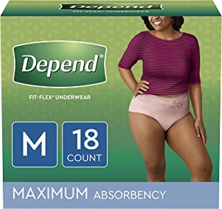 Depend FIT-FLEX Incontinence Underwear for Women, Disposable, Maximum Absorbency, M, Blush, 18 Count