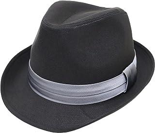 [エクサス]EXAS 中折れハット ブラックボディー無地 サテンリボン 大きいサイズ帽子約62cm 透明な帽子置き付き