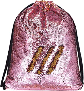 Alritz Mermaid Sequin Drawstring Bags, Reversible Sequin Gym Dance Backpacks Magic Glittering Shoulder Bags Unicorn Gift for Girls Daughter Boys Kids Teens Women