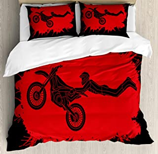 Lunarable Extreme Sports Duvet Cover Set, Freestyle Motocross Illustration with Color Splashes Background, Decorative 3 Piece Bedding Set with 2 Pillow Shams, Queen Size, Vermilion Black