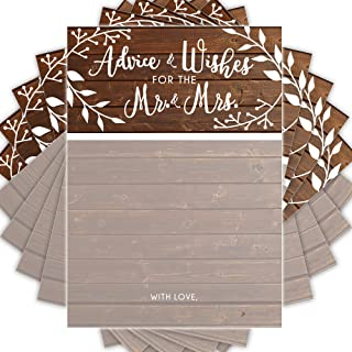 GSM Brands Wedding Advice Cards | Rustic | Well Wishes to Bride & Groom | Guest Book Alternative | Bridal Showers Games and Decorations - 50 Pack