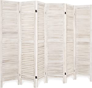 Best Choice Products 5.6ft Tall 6-Panel Blind Style Wood Folding Freestanding Room Divider Privacy Screen for Living Room, Bedroom, Apartment, Natural