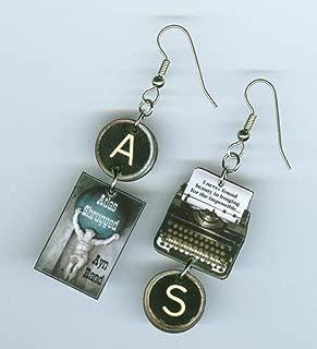 Atlas Shrugged book earrings - Typewriter Key jewelry Ayn Rand Quote- Authors teachers readers bookish literary writers gift
