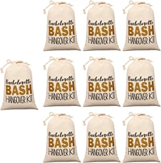 """10pcs White Wedding Party Favor Bags 5x7 Inch Gold Glitter """"BASH"""" Bridesmaid Gift Bags for Bridal Shower Bachelorette Hangover Kit Bags Recovery Kit Bags Cotton Muslin Drawstring Bag"""