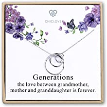 Kvekstio Three Generations Necklace for Grandmother Mother and Granddaughter New Grandma Gifts 3 Circles Necklace