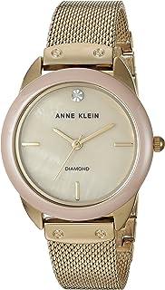 Anne Klein Women's AK/3258TNGB Diamond-Accented Mesh Bracelet Watch with Ceramic Bezel