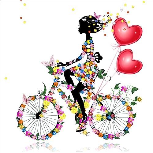 DIY 5d Diamond pintura por número Kit,5D diamond painting,Girl Riding Bike cristal