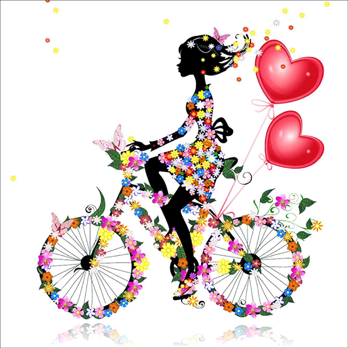 DIY 5D Diamond Painting by Number Kit, Girl Riding Bike Crystal Rhinestone Embroidery Cross Stitch Ornaments Arts Craft Canvas Wall Decor