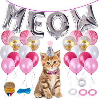 LOCOLO Cat Birthday Party SuppliersMeow Letter Biodegradable Latex Balloons20 Pieces Pink Balloons