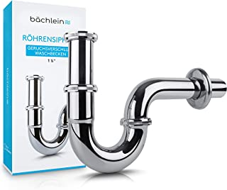 Bächlein Universal Siphon für Waschbecken & Waschtisch - Abflussgarnitur passgenau - Geruchsverschluss inkl. Gummimanschette  Einbauanleitung - Röhrensiphon Ablaufgarnitur