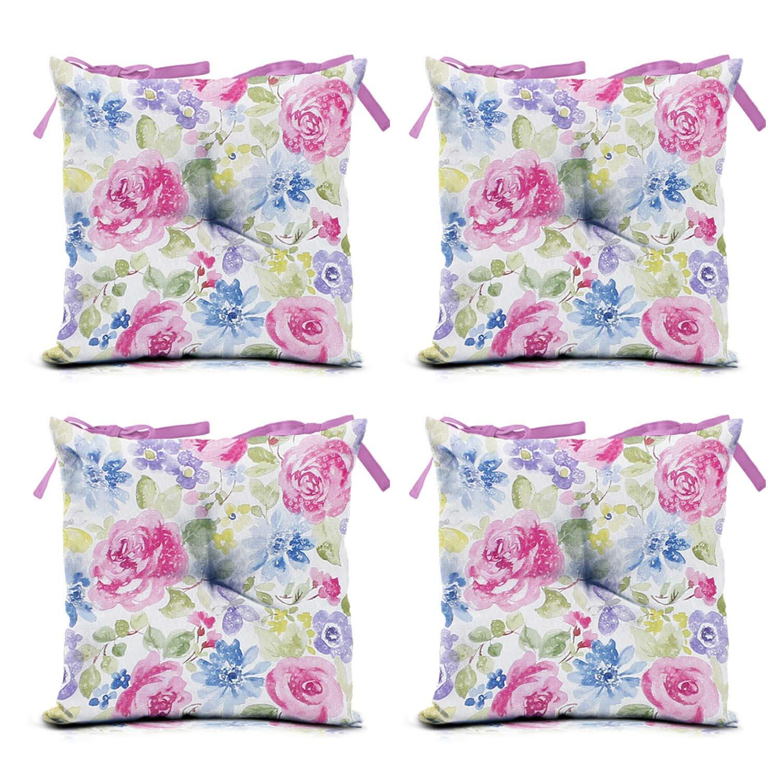 domarex Juego de 4 Cojines para Silla de jardín, Color Rosa, 40 x 40 cm, para Interior y Exterior, con Cordones, para sillas de jardín: Amazon.es: Juguetes y juegos