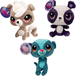 Littlest Pet Shop 6 Inch Plush Bundle - Penny Ling Panda, Pepper Clark Skunk and Sunil Nevla Mongoose