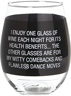 About Face Designs Comebacks and Dance Moves Clear Wine Glass, 16 Ounce, Black