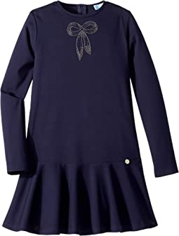 Long Sleeve Dress with Embellished Bow Detail (Big Kids)