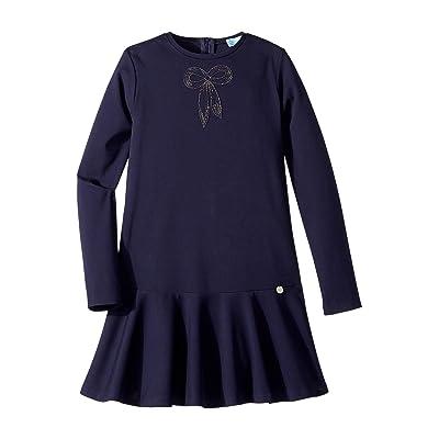 Lanvin Kids Long Sleeve Dress with Embellished Bow Detail (Big Kids) (Navy) Girl
