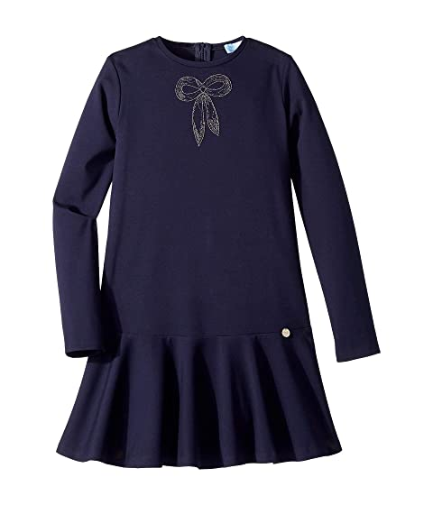 Lanvin Kids Long Sleeve Dress with Embellished Bow Detail (Big Kids)