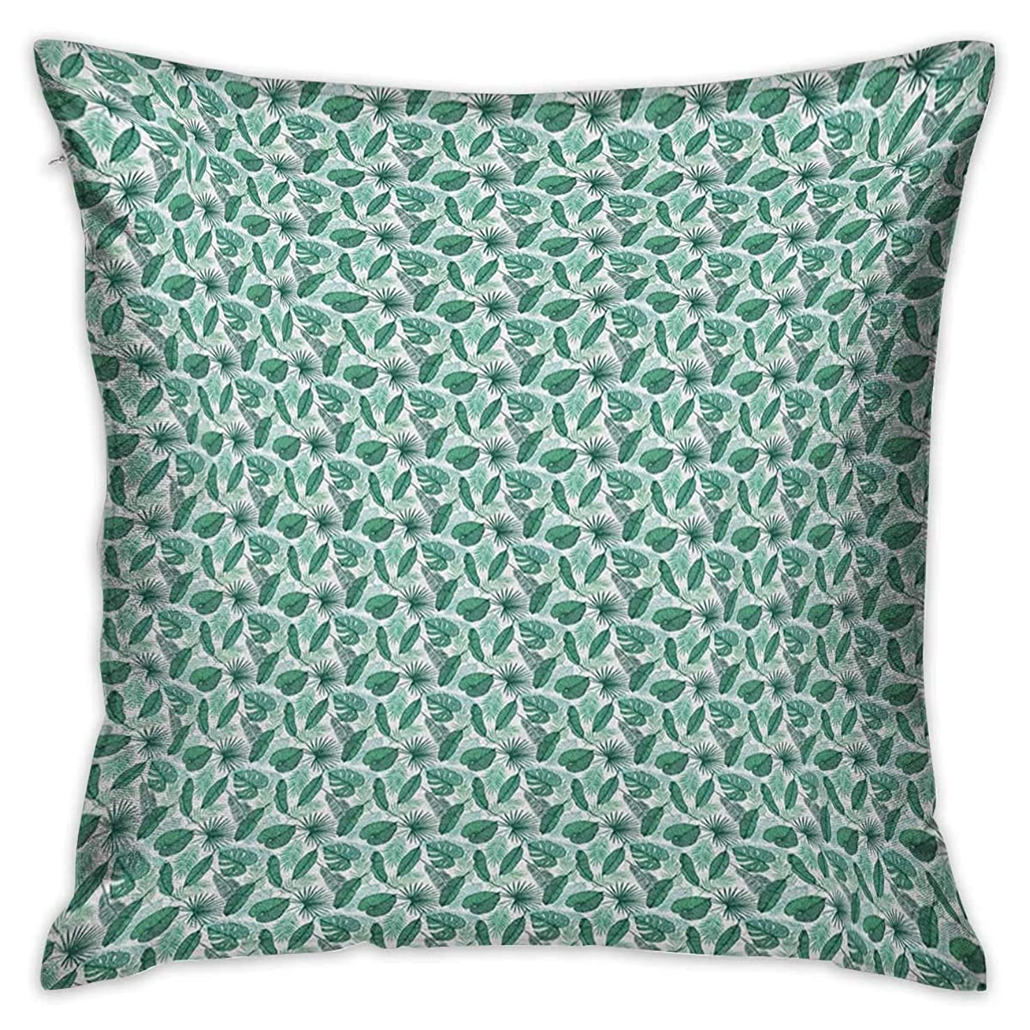 Banana Leaf Square Custom Pillowcase Monstera Areca and Fan Palm Leaves in Green Artistic Natural Pattern Jade Green White Cushion Cases Pillowcases for Sofa Bedroom Car W17.7 x L17.7