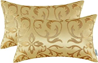 CaliTime Pack of 2 Bolster Pillow Covers Cases for Couch Sofa Home Decoration Vintage Floral Two Tone Contrast Both Sides 12 X 20 Inches Yellow Gold