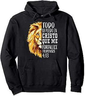 Christian Gifts Spanish Filipenses 4:13 Philippians Lion Men Pullover Hoodie