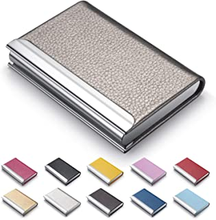 Business Card Holder, Luxury PU Leather Business Card Case Name Card Holder & Stainless Steel Multi Card Case - Wallet Cre...
