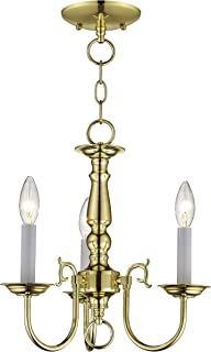 Livex Lighting 5013-02 Williamsburg 3 Light POLISHED BRASS Hanging Lantern / Flush Mount Mini Chandelier.