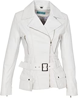 Womens Leather Jacket Fitted Hip Length Waist Belted Biker Style Celia White