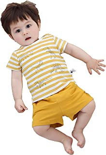 COTTON FAIRY T-shirt and Shorts Set for Baby Boys Dinosaur Print Outfits Handsome Kids Top and Shorts Suits Yellow Stripe