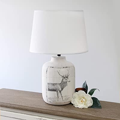 Welcome Home Ceramic Farmhouse Table Lamp Deer: Amazon.co.uk