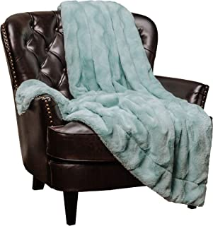 Chanasya Fur Throw Blanket for Bed Couch Chair Daybed - Soft Wave Embossed Pattern - Warm Elegant Cozy Fuzzy Fluffy Faux Fur Plush Suitable for Fall Winter Summer Spring (50x65) - Aqua Blanket