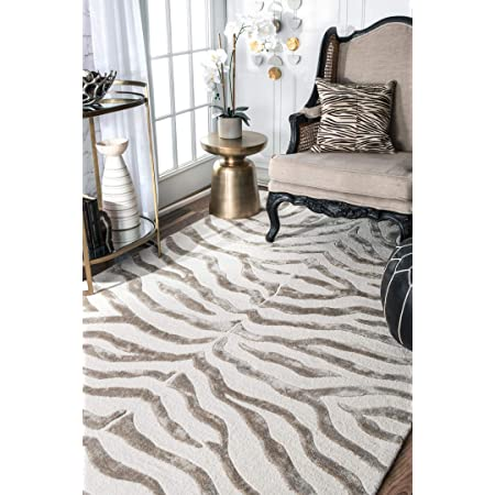 Nuloom Zebra Hand Tufted Plush Wool Area Rug 4 X 6 Grey Furniture Decor