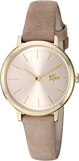 Women's Moon Small Stainless Steel Quartz Watch with Leather Calfskin Strap, Beige, 11.5 (Model: 2001049)