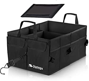 Car Boot Organiser Bags Car Trunk Organiser Starlings -Black  Tidy Organization  Super Strong amp Durable  Collapsible  Storage Box For Auto  Truck  SUV-Adjustable Compartments  Antislip  Waterproof